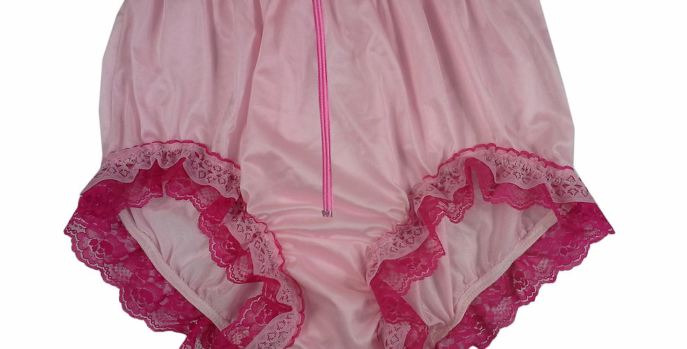 NQH23DP03 Pink Zipper New Panties Granny Briefs Nylon Handmade Lace Men