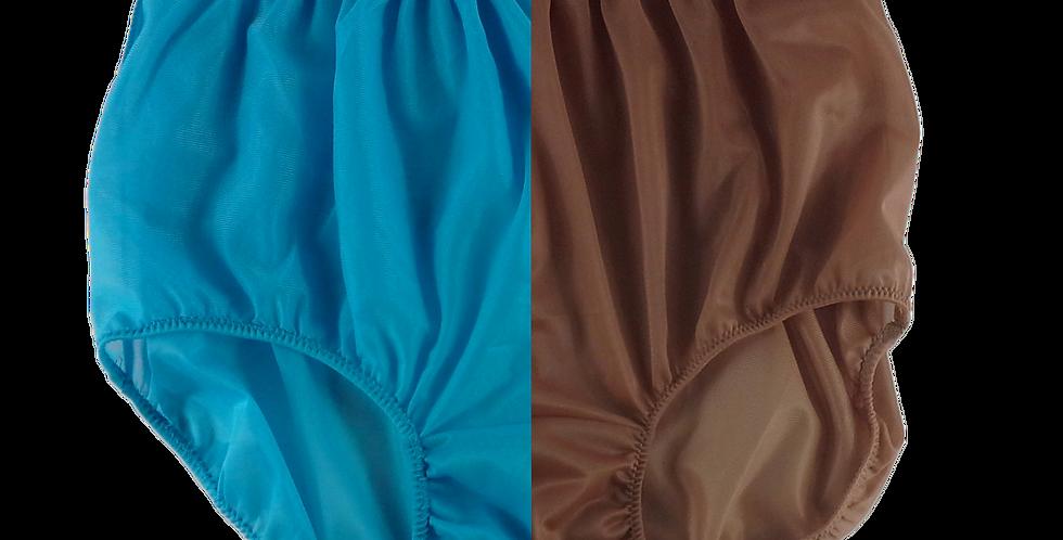 Light Blue Fancy Fair Brown TWO TONE Panties Nylon Brief Men Handmade Nlbl+fbw16