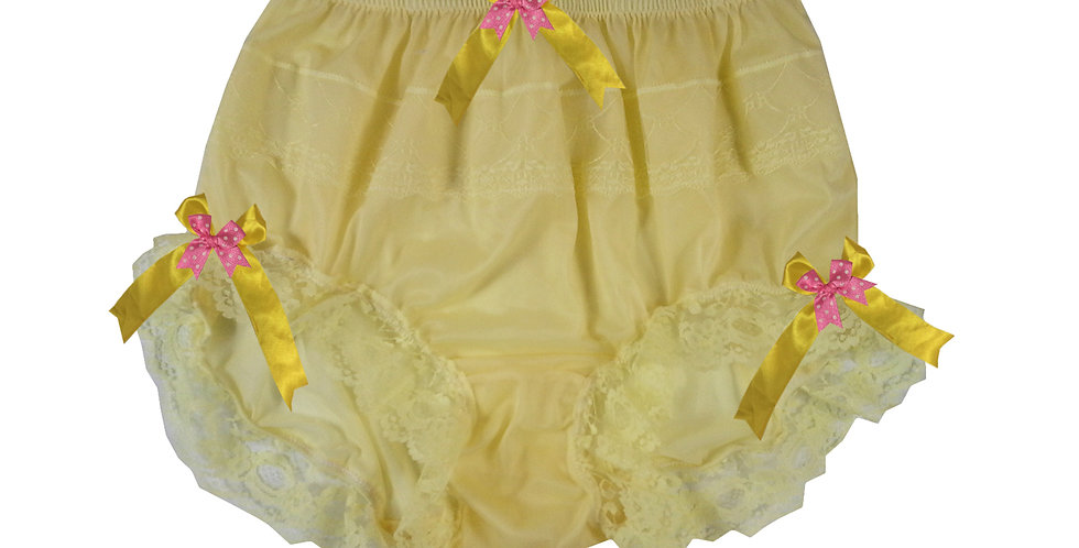 JYH11D02 yellow Handmade Nylon Panties Women Men Lace Knickers Briefs