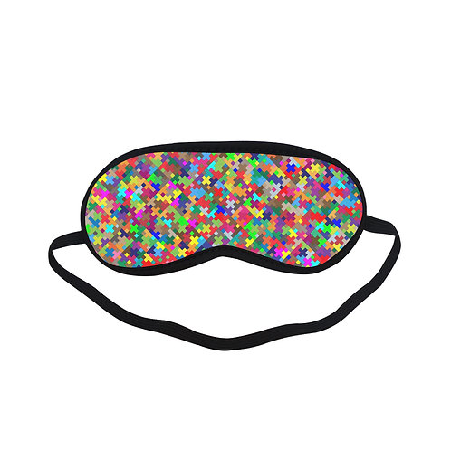 PTEM046 Colourful jigsaw pattern Eye Printed Sleeping Mask