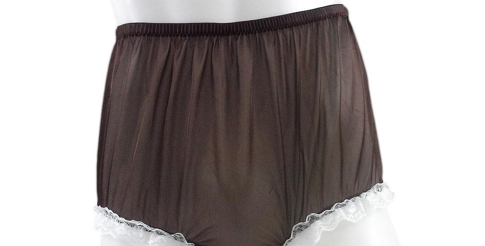 NH02D07 Tan Brown Handmade Panties Lace Women Men Briefs Nylon Knickers Und