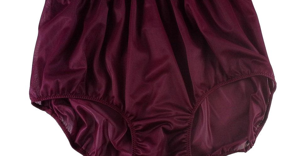 NN07 Deep Red Women Vintage Panties Granny HI-CUTS Briefs Nylon Knickers