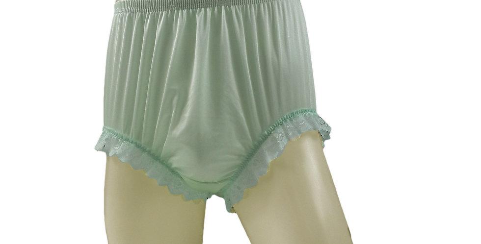 NQH04D01 Fair Green Panties Granny Briefs Nylon Handmade Lace Men Woman