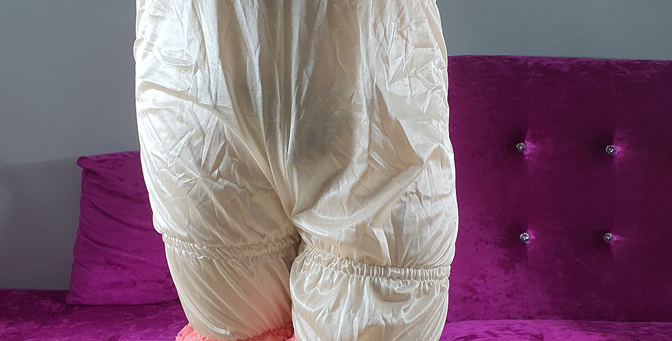 Fair Orange Bloomer Pettipants Men Handmade Sheer Nylon Slip Pink Lacy NSLTL10