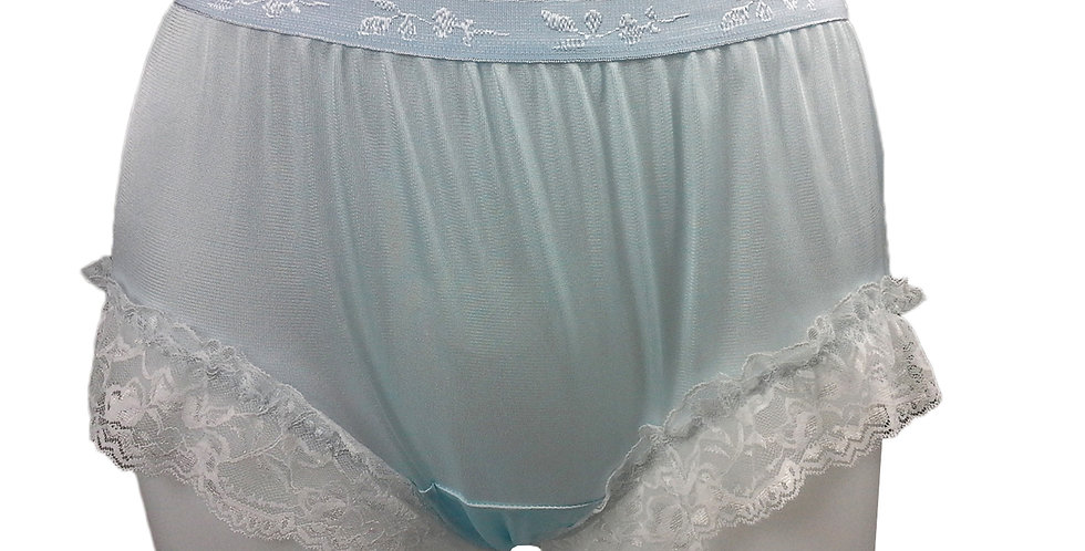 CKH01D05 Blue Silky New Nylon Panties Handmade Lace Floral Women Knickers