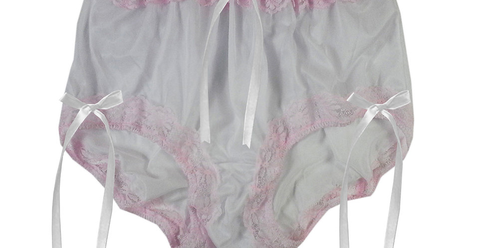 NNH06D03 white Handmade Panties Lace Women Men Briefs Nylon Knickers