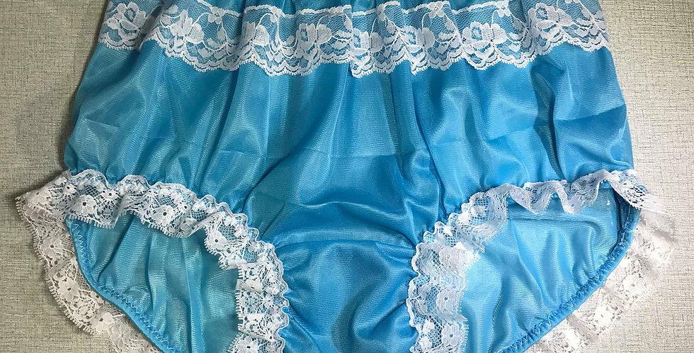 Light Blue Vintage Shimmery Nylon Briefs Panel Lace Panties Men Handmade NRLP12