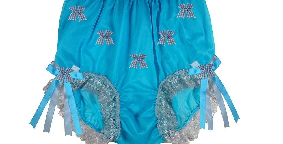 NNH18D12 Light Blue Handmade Panties Lace Women Men Briefs Nylon Knickers