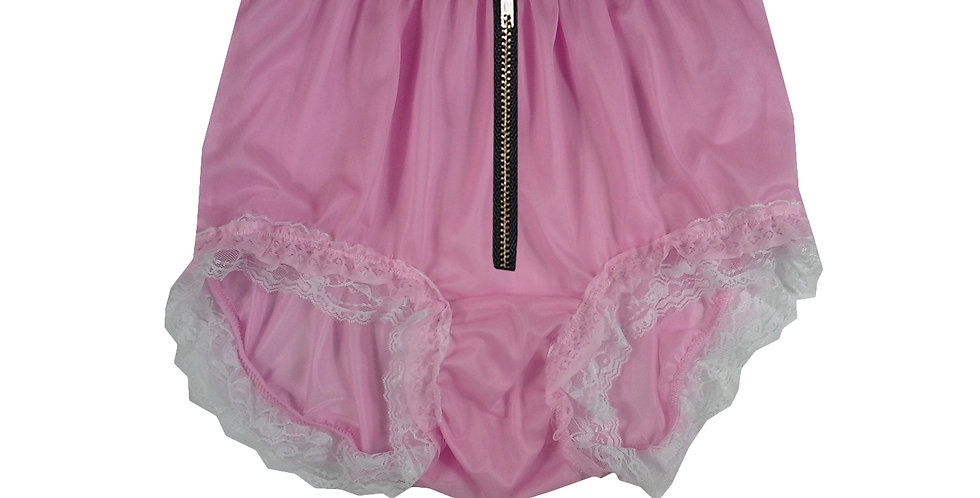 NNH23DI18 Pink Zipper Handmade Panties Lace Women Men Briefs Nylon Knickers