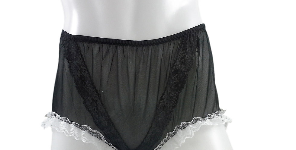 SSH02D05 Blue Handmade Nylon Panties Lace Women Granny Men Briefs