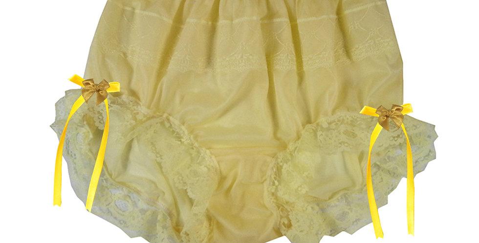JYH17D03 Yellow Handmade Nylon Panties Women Men Lace Knickers Briefs