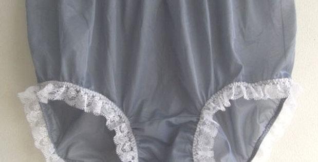 New Gray Full Cut Panties Nylon Brief Vintage Knickers Handmade Men Lacy NVOD76