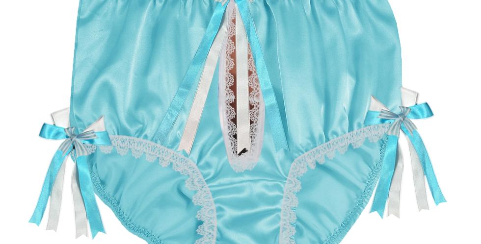 New Mint Blue Open Front Hole Ribbon Satin Panties Briefs Men Male Handmade STHR