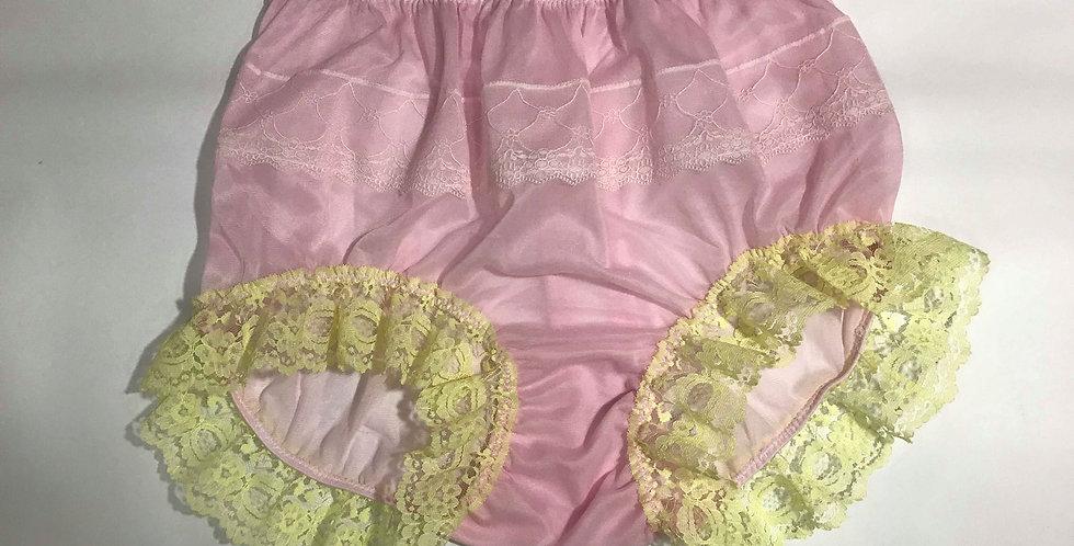 New Fair Pink Full Cut Nylon Brief Panties Handmade Men Floral Knickers JYRH02
