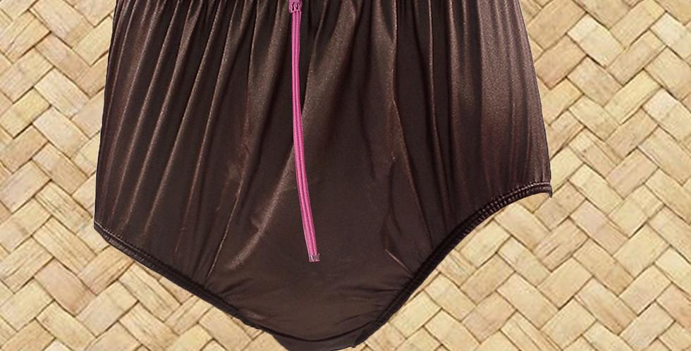 NQH03D03 Tan Brown Zipper New Panties Granny Briefs Nylon Handmade Lace Men