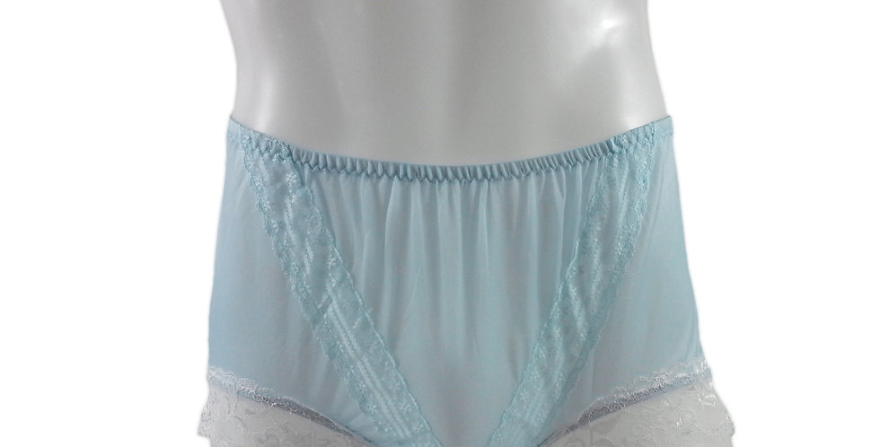 SSH01D04 BlueHandmade Nylon Panties Lace Women Granny Men Briefs