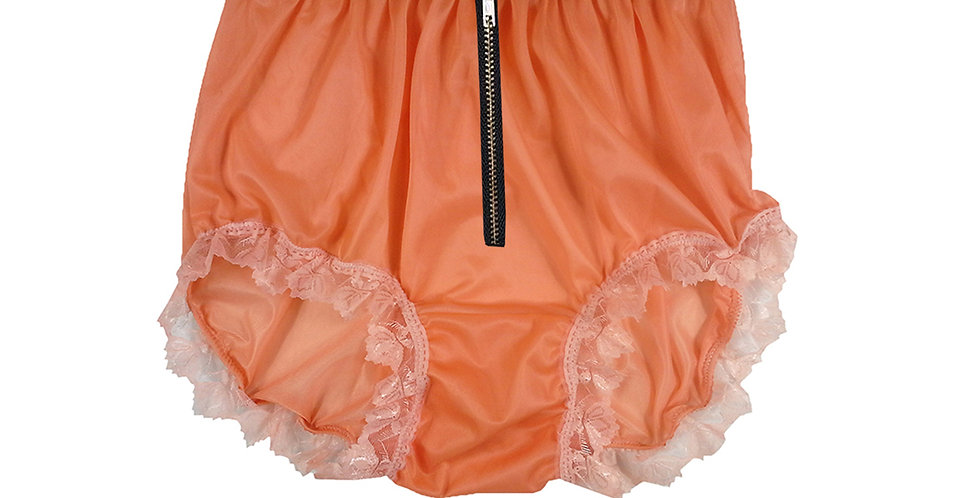 Orange Nylon Brief Panties Crotchless Zip Panties Open Front Mens Knickers Lace