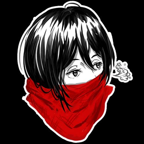 Peeker Anime Peeking Sticker Car Window Decal MKS008 Mikasa AoT