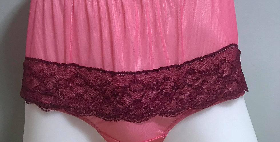 New Light Pink Full Cut Nylon Brief Panty Floral Lacy Briefs Men Handmade RTN01