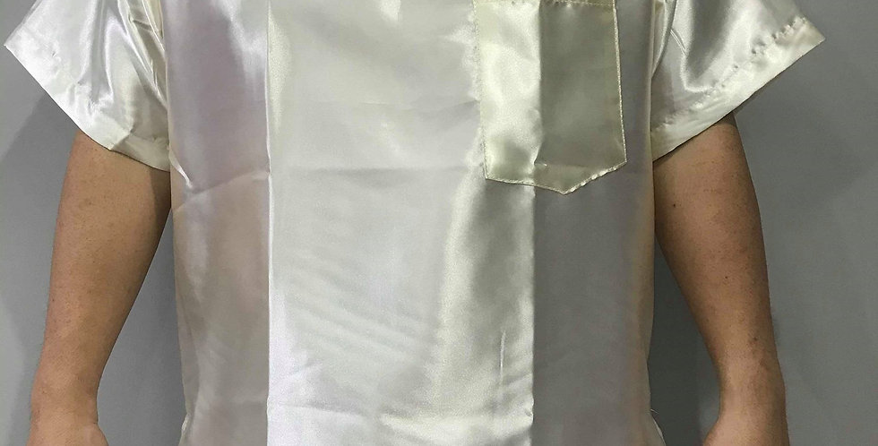 New Sissy Ivory Shiny Satin Shirt Clothes Casual Men Gay Male Party STS18