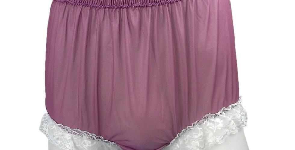 NH01D10 Deep Pink Handmade Panties Lace Women Men Briefs Nylon Knickers