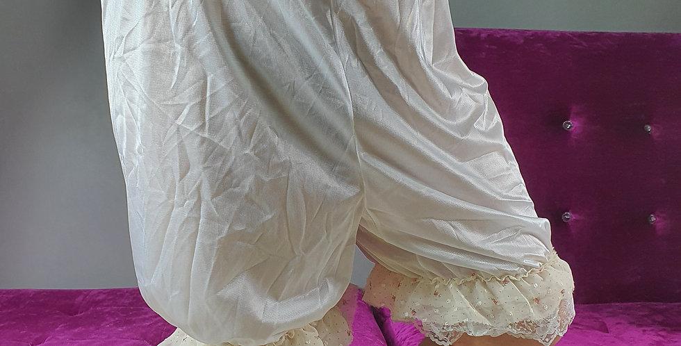 New White Pettipants Men Pinup Lingerie Bloomer Handmade Nylon Slips Lacy NSLL01