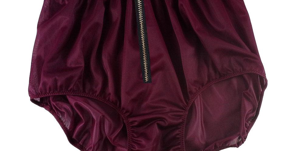 NNH03I06 DEEP RED Zipper Handmade Panties Lace Women Men Briefs Nylon Knickers