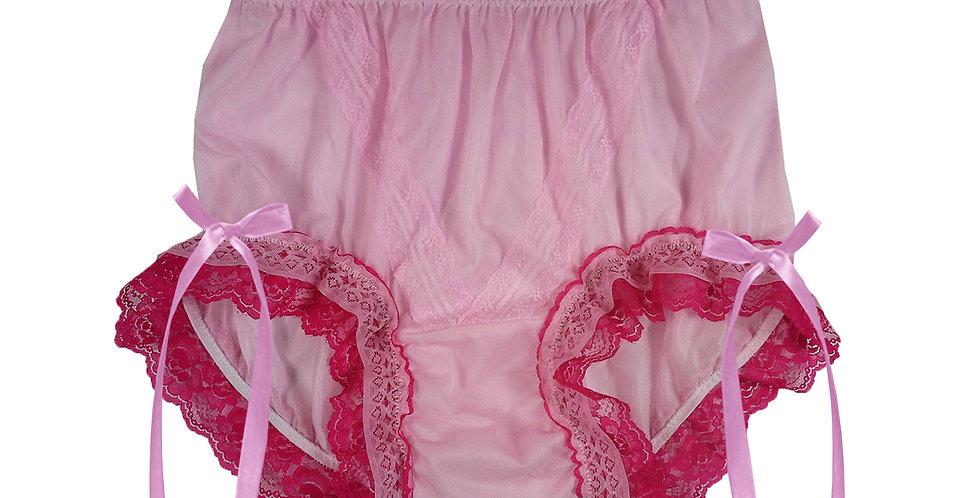 SSH21D13 Pink Handmade Nylon Panties Lace Women Granny Men Briefs