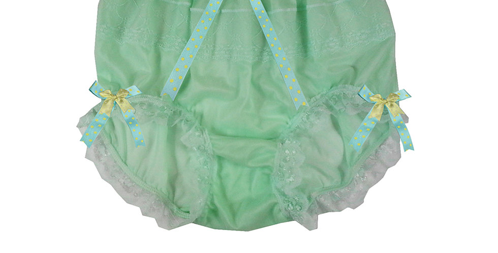 JYH18D06 Fair Green Handmade Nylon Panties Women Men Lace Knickers Briefs