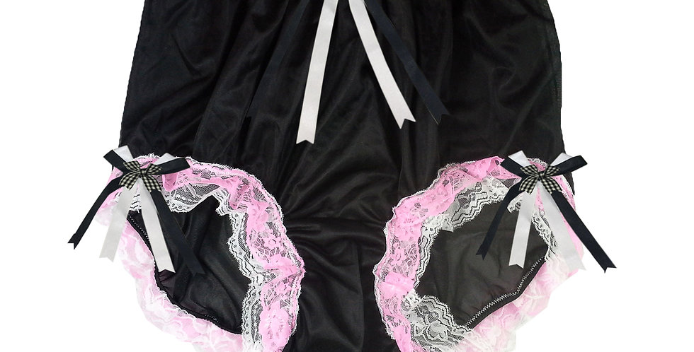 NNH22D37 Black Handmade Panties Lace Women Men Briefs Nylon Knickers