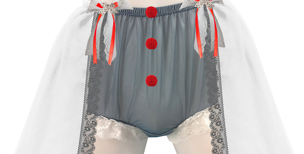 Gray Sheer Nylon Briefs Mens panties Handmade Costume Clown Pennywise Underwear
