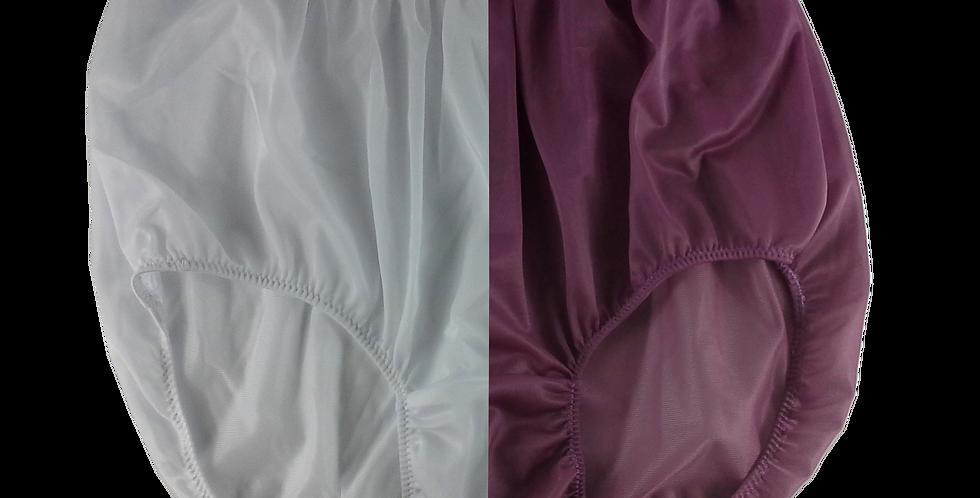 New White Deep Pink PlusSize TWO TONE Panties Nylon Brief Men Handmade Nwh+dpk22