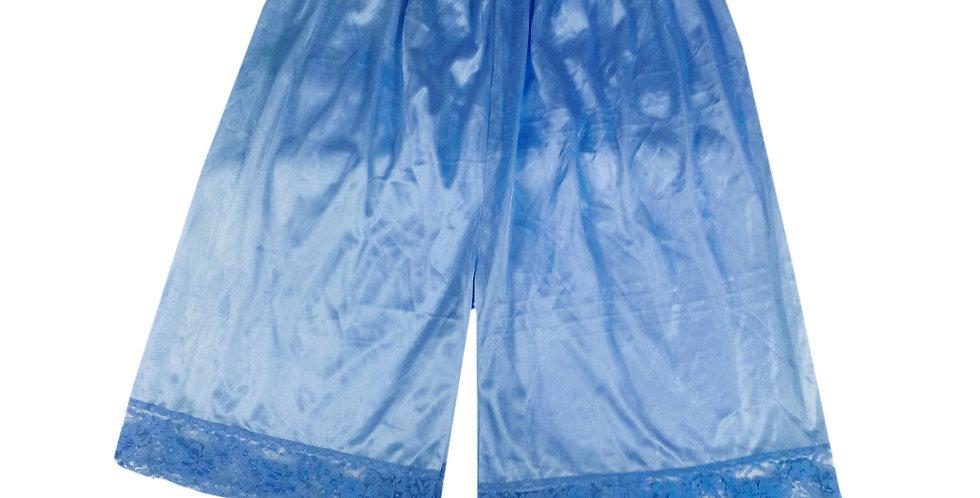 PTP10 blue Silky Nylon Pettipants Women Men Slips Lace Lingerie