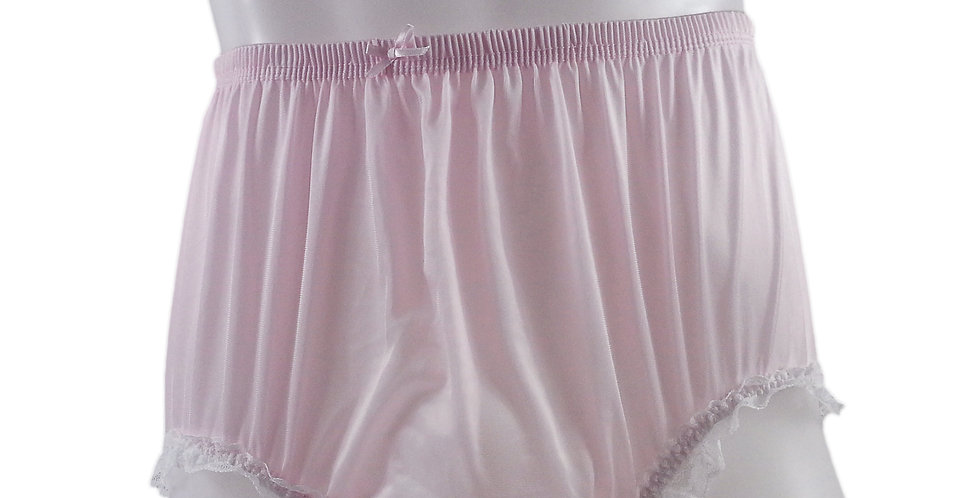 NQH02D04 Fair Pink Panties Granny Briefs Nylon Handmade Lace Men Woman