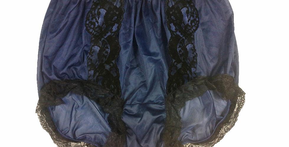 NNH14D01 Navy Blue Handmade Panties Lace Women Men Briefs Nylon Knickers