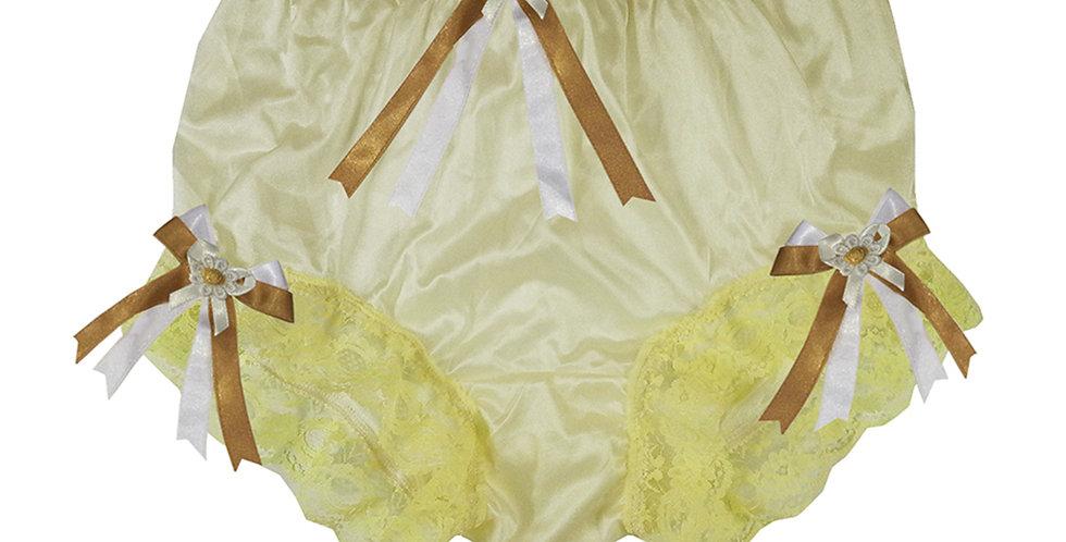 NYH18D06 Yellow Handmade New Panties Briefs Lace Sheer Nylon Men Women