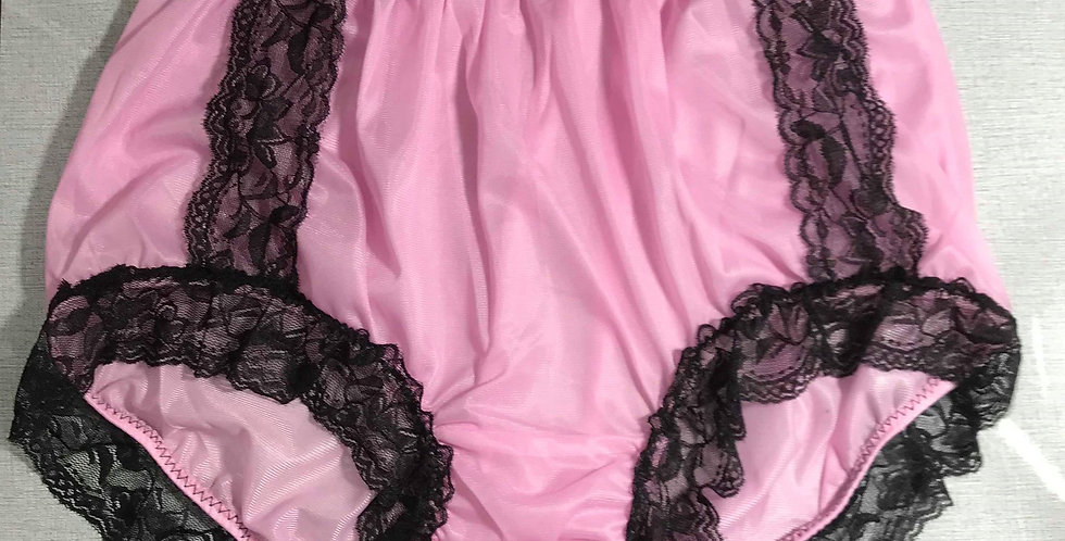 New Sissy Fair Pink PlusSize Nylon Briefs Black Lace Panties Men Handmade NRLP06
