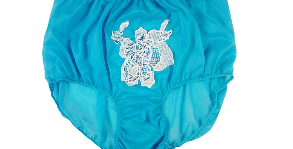 Light Blue Sew on Flower Patch Embroidered Panties Briefs Nylon Handmade