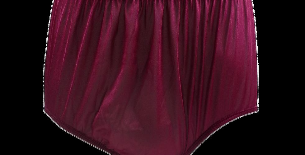 NQ17 Deep Red New Panties Granny Briefs Nylon Underwear Men Women