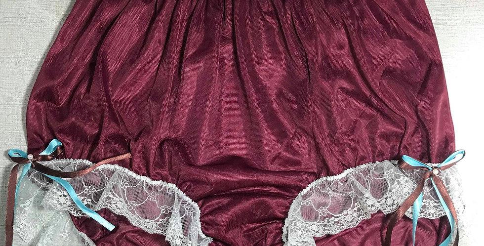 New Deep Red PlusSize Nylon Briefs Panties Pinup Ribbon Lace Men Handmade NRRH13