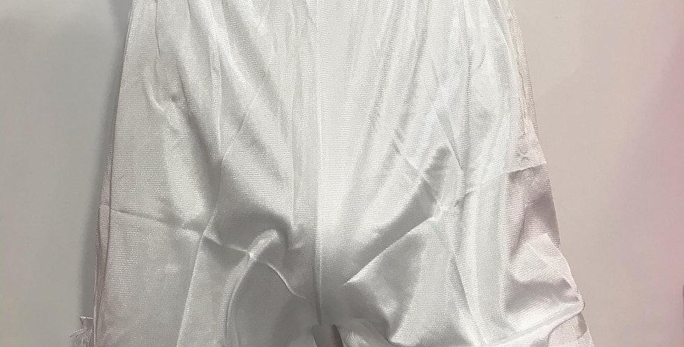New Sissy White Nylon Pettipants Shorts Vintage Women Men Half Slips Lace SLO04