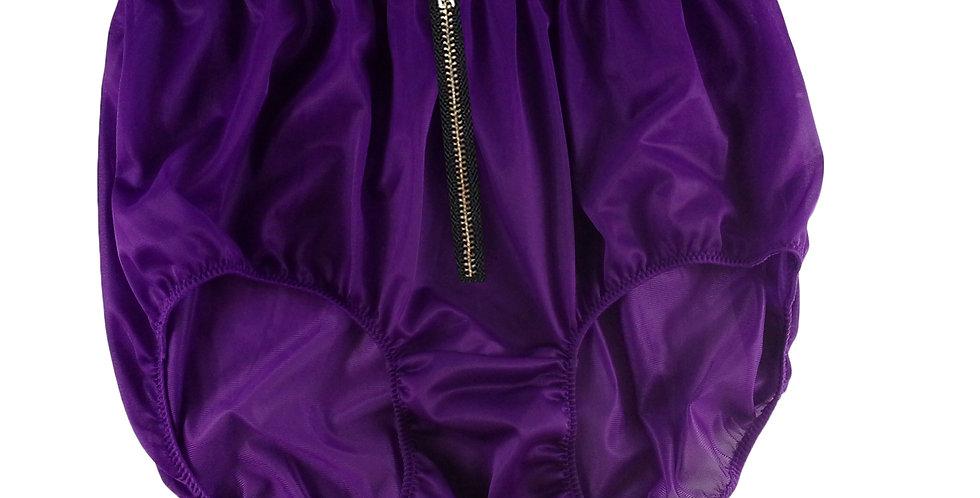 NNH03I05DEEP PURPLE Zipper Handmade Panties Lace Women Men Briefs Nylon Knickers