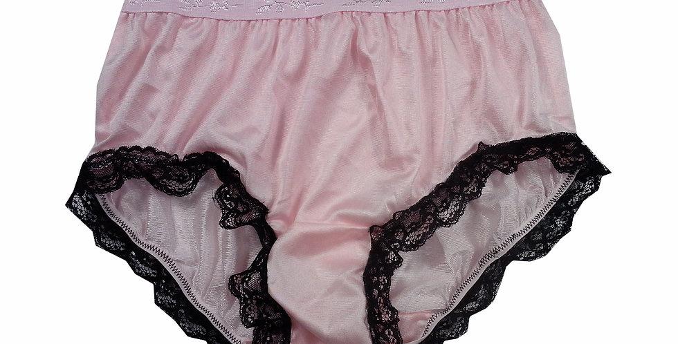 CKH08D01 Fair Pink Silky New Nylon Panties Handmade Lace Floral Women Knicker