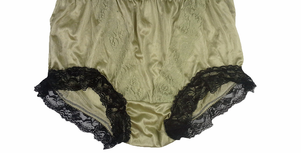 NLH07D05 Olive Green Panties Granny Lace Briefs Nylon Handmade  Men Woman