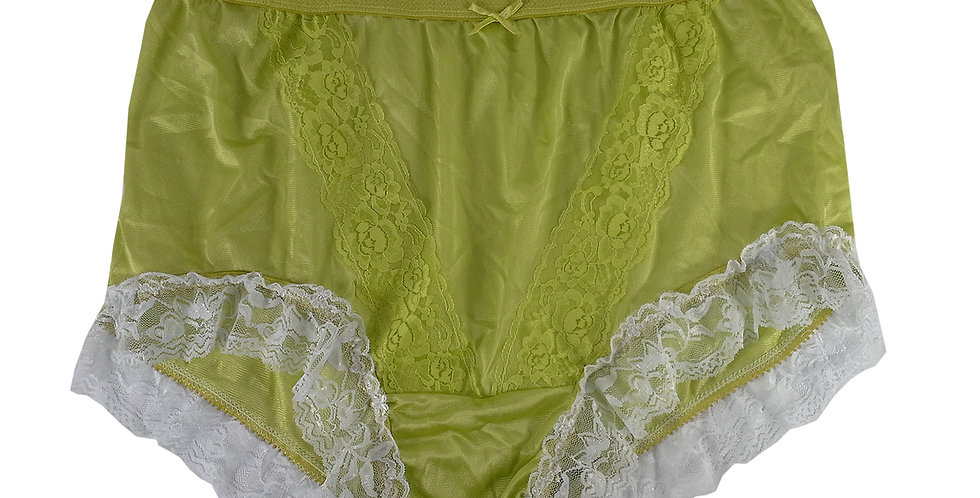 KJH01D01 Lime Green New Panties Granny Lace Briefs Nylon Handmade  Men Women