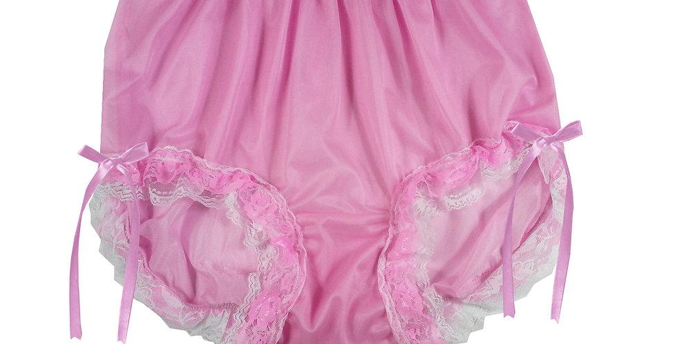 NNH21D16 Pink Handmade Panties Lace Women Men Briefs Nylon Knickers