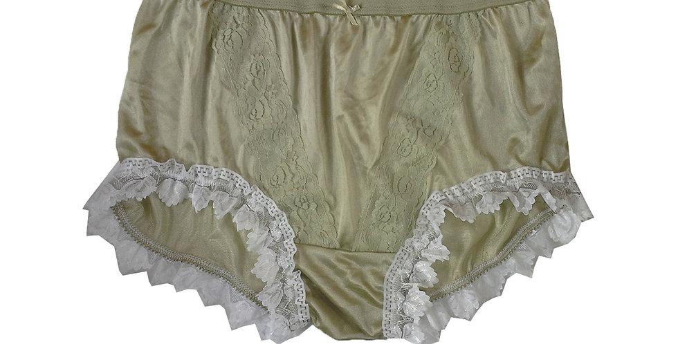 NLH24D10 Olive Green New Panties Granny Lace Briefs Nylon Handmade  Men