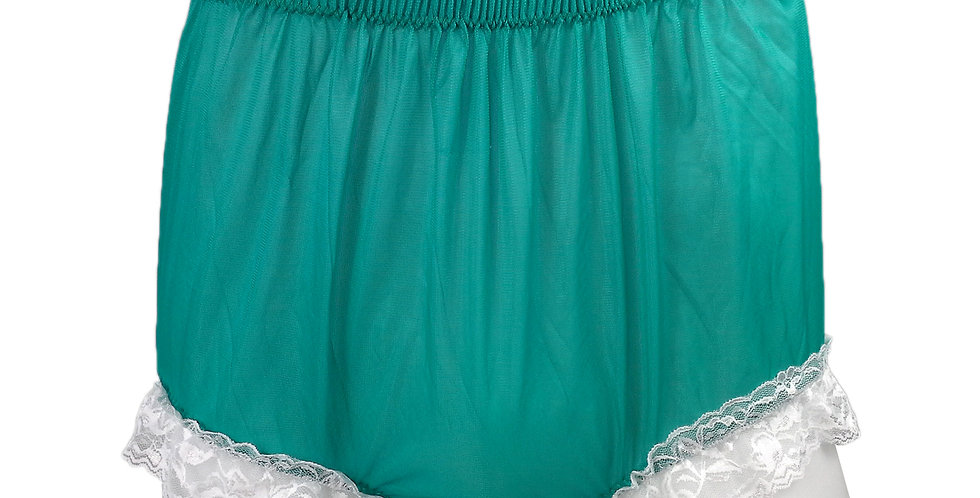 NH01D06 Green Handmade Panties Lace Women Men Briefs Nylon Knickers