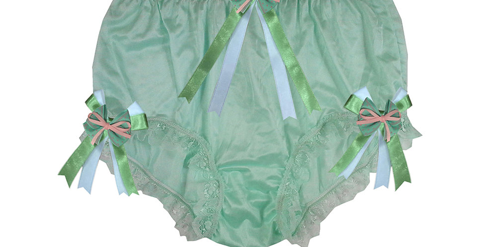 NYH18D02 Green Handmade New Panties Briefs Lace Sheer Nylon Men Women