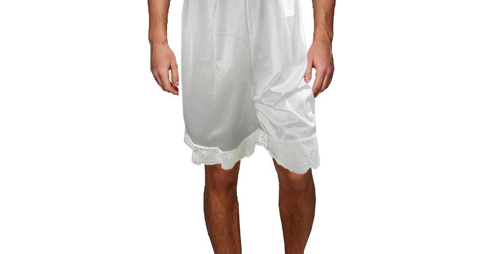 PTM05 white Silky Nylon Pettipants Women Men Slips Lace Underwear